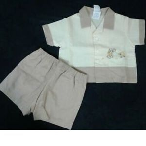 50s Baby Boy Infant 9 Months Short Set Puppy